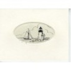 SCRIMSHAW,  NOTE CARD LIGHT HOUSE AND SAILBOAT