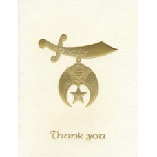 Shriners Thank You Card Gold Embossed