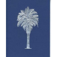 Palmetto Tree Blue/silver embossed