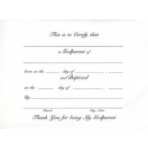 Religious Certificate Baptism God Parent