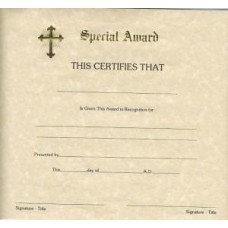 RELIGIOUS, CERTIFICATE SPECIAL AWARD