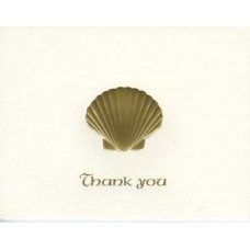 Scallop Shell Thank You Card Gold Embossed